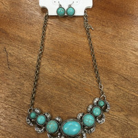 Oval Stone Necklace- Turquoise