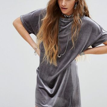 Glamorous T-Shirt Swing Dress In Velvet at asos.com