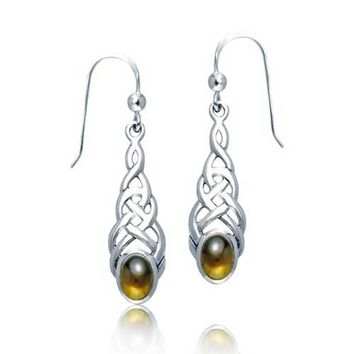 Celtic Knot Love Brown Amber Oval Dangle Earrings 925 Sterling Silver