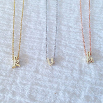 Dainty Lowercase Gold Initial Necklace w Gold, Silver, Rose Gold Chain, Dainty Cursive Initial Necklace, Holiday Gift, Bridesmaid Gift