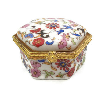 Vintage Porcelain Pill Box Small Floral Trinket Box Ring Box, Hinged Lid and Gold Tone Trim, White w/ Pink Red Blue Flowers, Hexagon Shaped