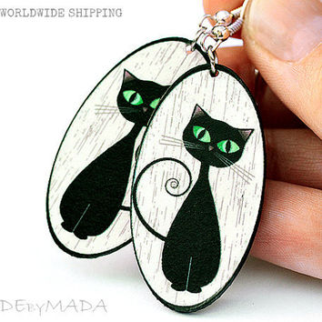 Cat Earrings Oval Black & White Dangle Jewelry 2-sided , gift for her under 25