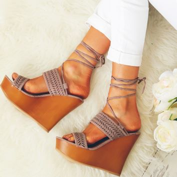 Perforated Lace Up Platform Wedge Taupe Suede