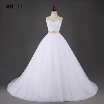 BEPEITHY Princess Ball Gown Pretty Tulle Wedding Dress With Detachable Sash Vestidos De Novia Casamento Bride Wedding Dress 2017