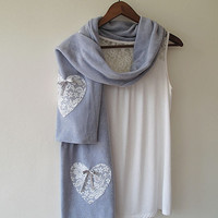 Valentines Day Gift, Hearts Valentine Scarf, Light Gray, Gifts Scarf. Scarves, Accessories, Valentine's Day