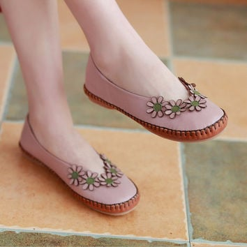 2016 NEW Pink Handmade Leather Shoes with Flowers, Flat Shoes for Women, Loafers, Casual Shoes, Soft Shoes, Slip Ons