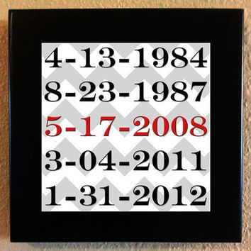 Personalized family birthdays, wedding anniversary date tile with black wood frame