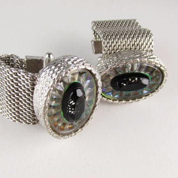 Vintage Wrap Around Cuff Links with Prismatic Glass, Hickok