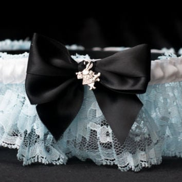 Alice in Wonderland Handmade Couture Style Fairytale Bridal Garter Custom Made