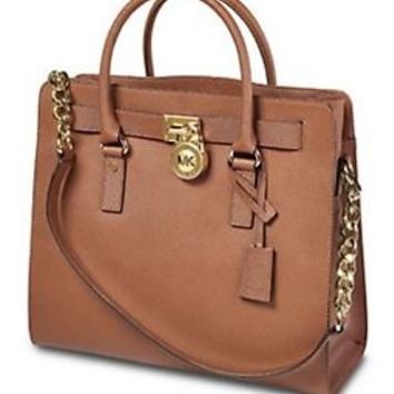 Michael Kors Hamilton Large North South Tote: Saffiano brown or black