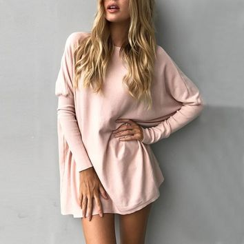 Autumn Winter Women Blouse Fashion Full Long Batwing Sleeve Solid Loose Tops