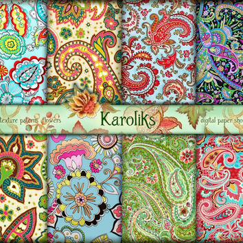 Paisley Background Download  Paisley Digital  Paisley Scrapbook Digital Pattern  Floral Download  Multicolor Digital Floral Paper K-40