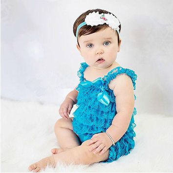 Girls Clothes Baby Blue Ruffled Lace Romper Toddler Kids Jumpsuit New Born Baby 1th Birthday Photo Outfit