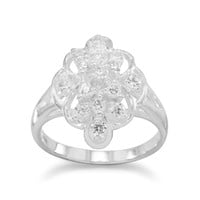 Soft Diamond Shaped CZ Ring