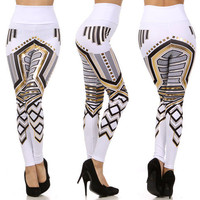 Tribal Aztec Foil Leggings High Waist White from Milly Kate