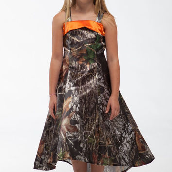 free shipping 2016 new style tea-length  straps girls printing mossy oak  camo  pageant gown  dresses long flower girl dresses