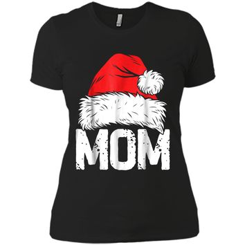Mom Christmas Santa Family Matching Pajamas Mama PJs Next Level Ladies Boyfriend Tee