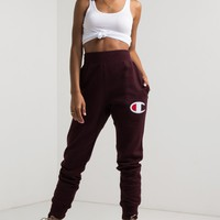 Champion Women's Jogger in Black, Team Maroon and Oxford Grey