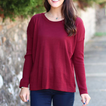 Our Time Basic Light Knit Sweater {Burgundy}