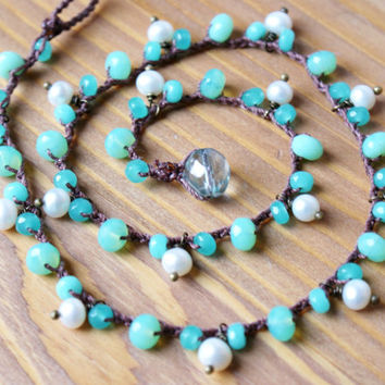 Sea foam Bohemian crochet necklace, wrap bracelet, trendy boho jewelry, beach, green, white, cottage chic, pearl dangles