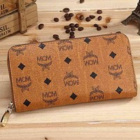 MCM Fashion Print Leather Zipper Purse Wallet For Women Brown
