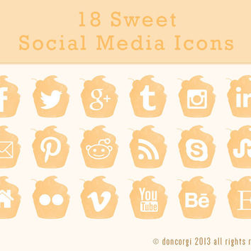 18 Sweet Cupcake Art Themed Social Media Icons - 3 sizes available - 3 Colors - .png + PSD Files - Instant Download