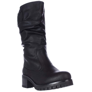 7 Dials Pickup Mid Calf Lug Sole Slouch Boots, Black, 6 US