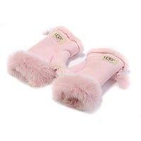 UGG Winter Popular Women Gloves Warm Mittens Velvet Fur Gloves Pink I/A