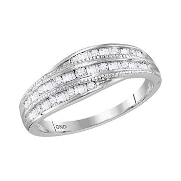 10kt White Gold Womens Round Baguette Diamond Milgrain Band Ring 1/3 Cttw