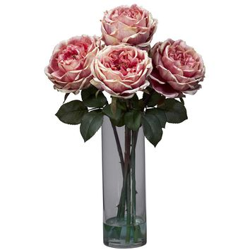 Silk Flowers -Fancy Pink Rose With Cylinder Vase Flower Arrangement