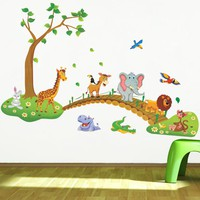 Forest Animal Cartoon kindergarten Wall Stickers For Kids Rooms X010 Home Decor DIY Wallpaper Art Decals Nursery Home Decoration