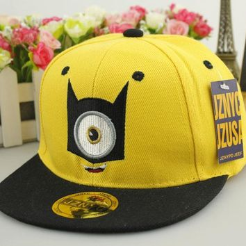 2015 New Children Fashion God Steal Dads Film Yellow People Minions Snapback Flat along the Baseball Cap Hip Hop Hats