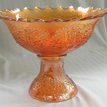 Fenton Marigold Carnival Glass Orange Tree Punch Bowl and Stand