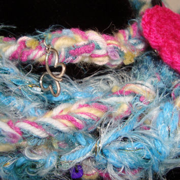 "Crochet "" Juanitta"" Necklace Scarflette for Women in shades of Pink, White and Turquoise - Crochet Pink Butterfly Pin Included -"