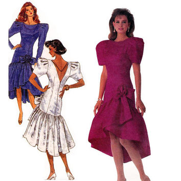 80s Drop Waist Waterfall Hem Prom or Bridesmaids Dress Vintage Sewing Pattern Size 14 Bust  36 inches
