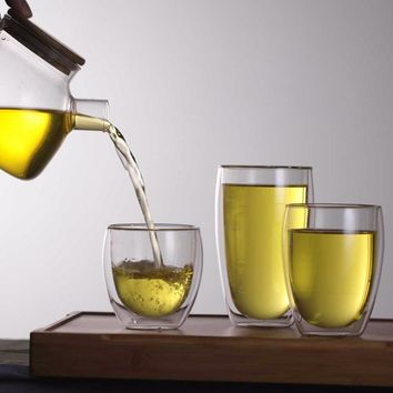 Double Layer Wall Clear Glass Tea Cup + Bamboo Lid Set