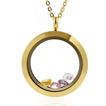 Gold Living Memory Screw Floating Locket 316L Stainless Steel Toughened Glass Including Chain and Colorful Zircon