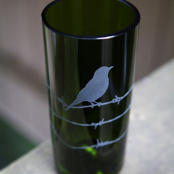Bird on Barbed Wire drinking glass upcycled from wine bottle