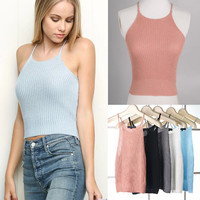 High Rise Crop Top Sleeveless Knit Spaghetti Strap Vest Strap [4920541892]