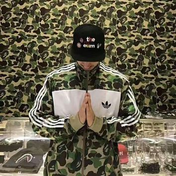 Adidas Fashion Camouflage Splicing Zipper Cardigan Sweatshirt Jacket Coat Windbreaker Sportswear G-A-BM-YSHY