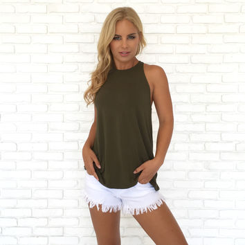 Trapeze Open Back Jersey Top In Olive