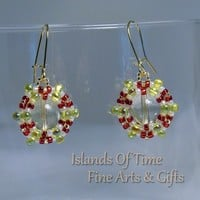 Red Green Yellow Quartz Earrings Gold Plate Wire Fashion Accessory