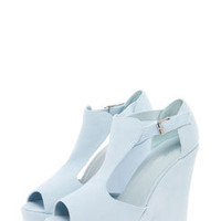 Mia Baby Blue Suedette T Bar Wedges
