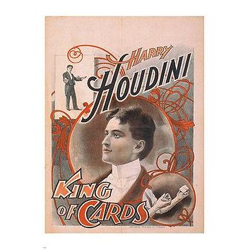HARRY HOUDINI KING OF CARDS vintage magic illusion poster1895 24x36 HOT NEW