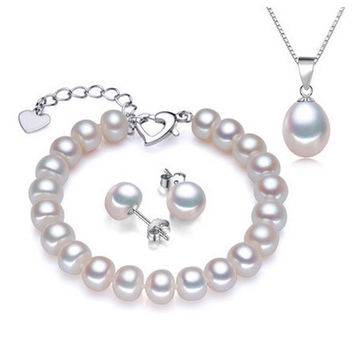 18k white gold plated pearl jewelry sets