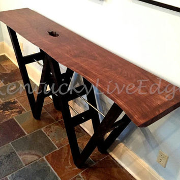 Industrial Console Table, Sofa Table, Foyer Table, Wood, Steel, Artisic Table, Wooden Table, Cherry, Maple, Walnut, Ash, Modern Sofa Table