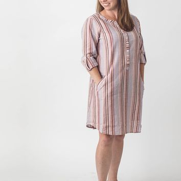 Sunset Stripe Shirt Dress