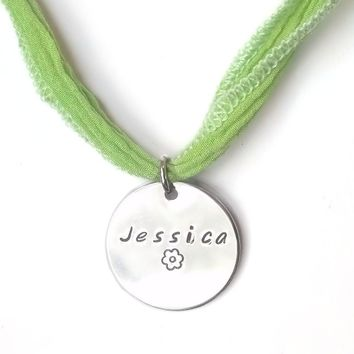 Little Girls Custom Necklace, Round Charm and Ribbon