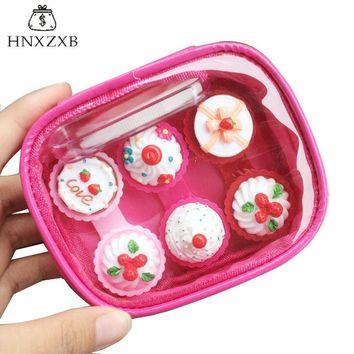 HNXZXB   Contact Lenses Storage Box Cartoon Fruit Cake Contact lens Box Eyes Care Kit Holder Travel Washer Cleaner Container