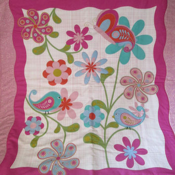 Bright Birds Crib Quilt in Teal, Coral, Magenta, Green, Aqua